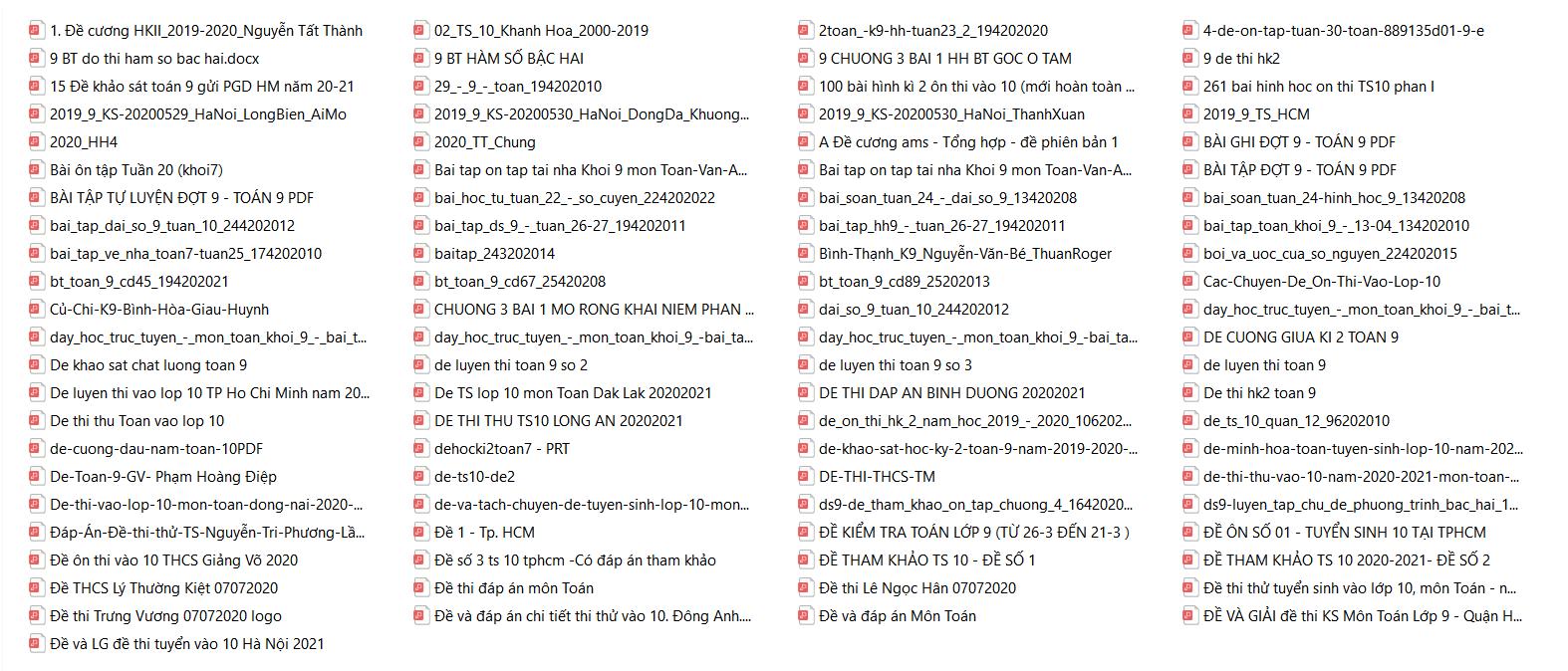 Tổng hợp bộ tài liệu Toán 9 được sưu tầm